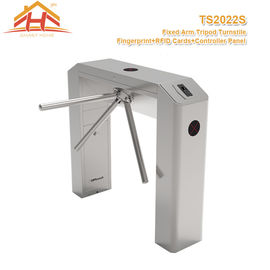 China Three Arm Access Control Turnstile Barrier Gate System With Fingerprint And RFID Card Reader factory